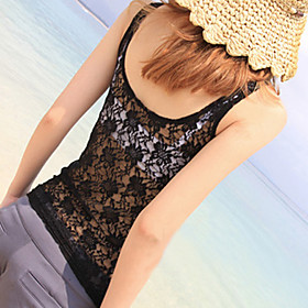 Cotton Tank Top With Lace Back (More Colors)