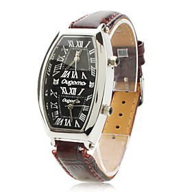 Women's PU Analog Quartz Wrist Watch with Olive-shaped Case (Brown)