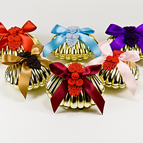 Shell Favor Box With Bow And Chinese Knot (Set of 6)