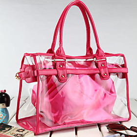 Fashion Lady's Clear PVC Tote Bag With Nylon Bag Inside