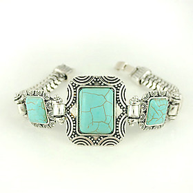 Square Turquoise And Silver Alloy Clasp Bracelet