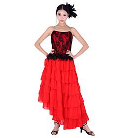 vestido de las mujeres de poliéster de baile en rojo