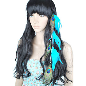 1 Pcs Clip In Peacock Feather Hair Extensions