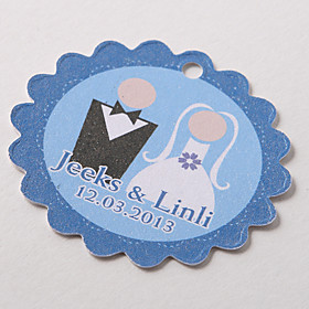 Personalized Scalloped Favor Tag – Cute Couple (Set of 60)