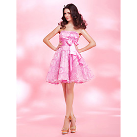 A-line Strapless Short/Mini Organza And Satin Cocktail Dress bachelorette party dress