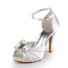 Satin Stiletto Peep Toe Wedding Shoes With Bow (More Colors)