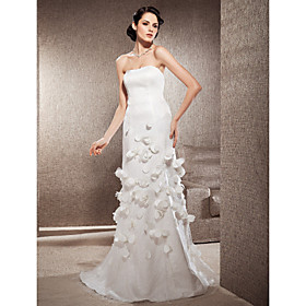 Sheath/Column Strapless Sweep/Brush Train Lace Satin Wedding Dress