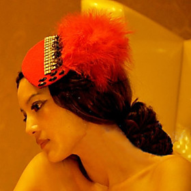 Red Drill Feather Headdress