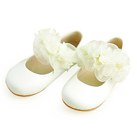 Kids' Leatherette Closed Toe Flats With Satin Flower For Party/Evening