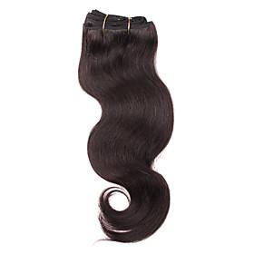 100% virgen pelo remy 14 pulgadas de la máquina hizo el cuerpo de la onda del cabello tejido