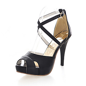 Leatherette Stiletto Sandals With Zipper For Party/Evening (More Colors)