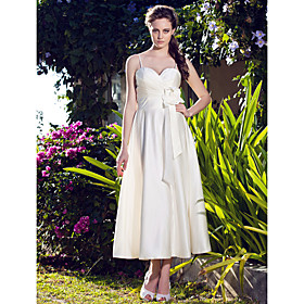 A-line Spaghetti Straps Tea-length Satin Wedding Dress
