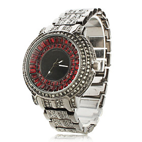 Women's Fashionable Alloy Analog Quartz Wrist Watch with Diamond (Black)