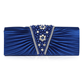 Satin With Imitation Pearl Clutch/Evening Bag (More Colors)