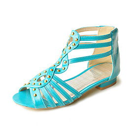 Patent Leather Low Heel Sandals With Rivets (More Colors)