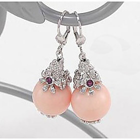 Pink Gem Crystal Earrings