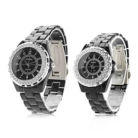 Pair of Fashionable Metal Analog Quartz Wrist Watches with Diamonds (Black)