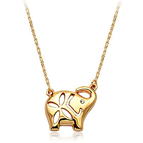 Gold-Plated Elephant Pendant Necklace