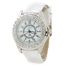 Women's Fashionable PU Analog Quartz Wrist Watch 2430 (White)
