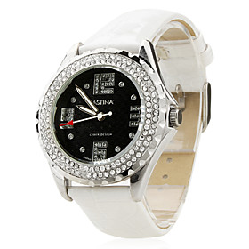 Women's Fashionable PU Analog Quartz Wrist Watch gz1218 (White)
