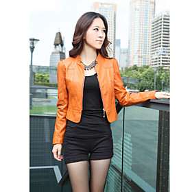 Standing Collar Long Sleeve Artificial Leather Evening/Office Jacket (More Colors)