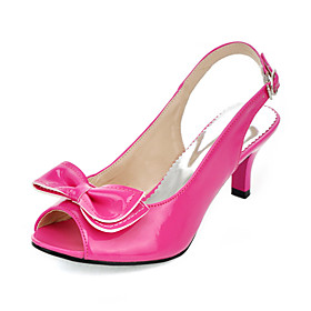 Patent Leather Kitten Heel Sandals / Peep Toe With Bowknot Party   Evening Shoes (More Colors Available)
