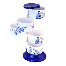 Kitchen Blue and White Porcelain Pattern Seasonings Box Holder