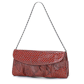 Trendy Ladies' Croco PU Mini Bag With Metal Chains