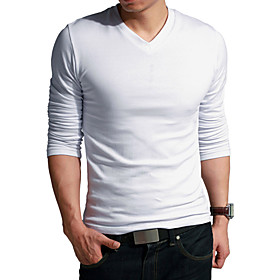 V-neck Elastic Cotton T-shirt