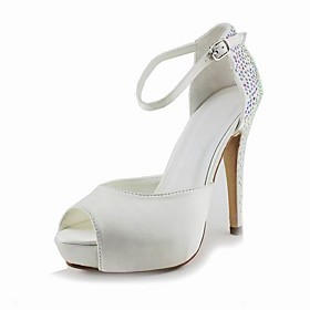 Satin Stiletto Heel Peep Toe / Pumps With Rhinestone Wedding Shoes (More Colors Available)