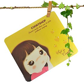 Cartoon Girl Mouse Pad (Assorted Colors)