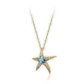 Crystal Diamond Starfish Pendant Necklace