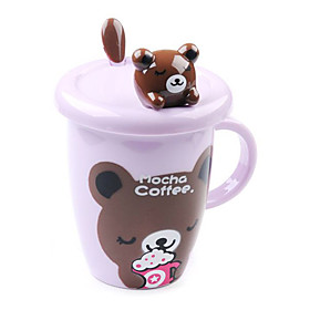Cute Cartoon Animal Design Cup with Cover (Random Color)