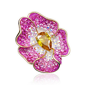 Flower Pattern Austrian Crystal Brooch