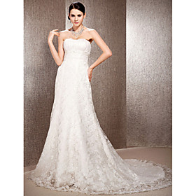 A-line Sweetheart Court Train Lace Organza Wedding Dress