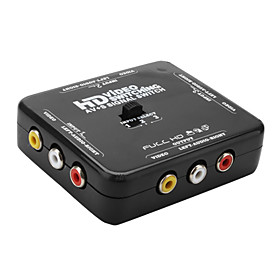 HD Audio Video 3-Switch Box (AV S, Black)