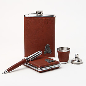 5-pieces Quality Stainless Steel 9-oz Flask Gift Set With Eagle Design