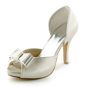 Satin Stiletto Heel Peep Toe / Pumps With Bowknot Wedding / Party Evening Shoes (More Colors Available)