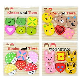 Cute Cartoon Design Wooden Fridge Magnets (6-Pack, Random Color)