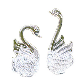 Crystal Swan Glass Crafts Home Decoration (1-Pair)