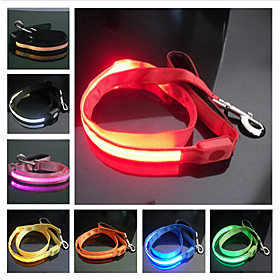 Reflective Nylon Night Safety LED Dog Leash (120cm, Assorted Colors)