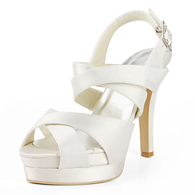 Satin Stiletto Heel Sandals / Platform With Buckle Wedding Shoes (More Colors Available)