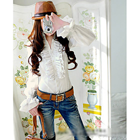 Two-layers Ruffle Slim Flared Sleeve Shirt