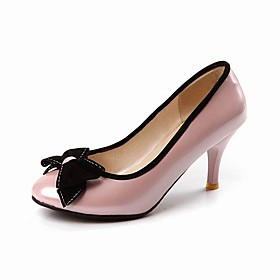 Patent Leather Stiletto Closed Toe Pumps With Bow (More Colors)