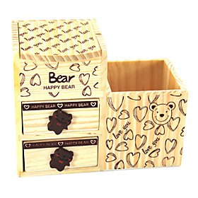 Cartoon Bear Style Wooden Pen Holder