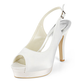 Satin Stiletto Heel Sandals / Slingbacks With Buckle Wedding Shoes (More Colors Available)