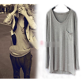 Round Collar Long Sleeve Loose Fit T-Shirt