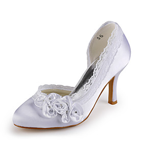 Satin Stiletto Heel Closed Toe With Satin Flower Wedding / Party Evening Shoes (More Colors Available)