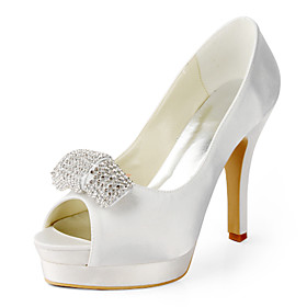 Satin Stiletto Heel Peep Toe With Rhinestone Wedding Shoes (More Colors Available)