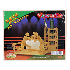 Wooden 3D Boxing Pen Holder Puzzle Toy